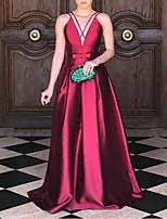 cheap -A-Line Minimalist Sexy Wedding Guest Formal Evening Dress V Neck Sleeveless Floor Length Satin with Sleek Pleats 2020