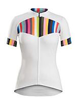 cheap -21Grams Men's Short Sleeve Cycling Jersey White Stripes Bike Jersey Mountain Bike MTB Road Bike Cycling Breathable Sports Clothing Apparel / Athletic