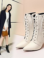 cheap -Women's Boots Stiletto Heel Pointed Toe Daily PU Synthetics White Black Red