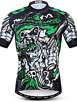 cheap -21Grams Men's Short Sleeve Cycling Jersey Green Skull Bike Jersey Mountain Bike MTB Road Bike Cycling Breathable Quick Dry Sports Clothing Apparel / Athletic