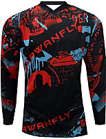 cheap -21Grams Men's Long Sleeve Downhill Jersey Spandex Black / Red Bike Jersey Top Mountain Bike MTB Road Bike Cycling UV Resistant Quick Dry Sports Clothing Apparel / Athletic