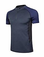 cheap -men short sleeve polo zipper shirts-dry fit performance golf tennis t shirt moisture wicking shirts black xl