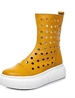 cheap -Women's Boots Wedge Heel Round Toe Booties Ankle Boots Classic Daily Leather Solid Colored White Yellow Red / Booties / Ankle Boots