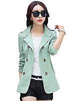 cheap -women's lapel double breasted short trench coat jacket (x-small, light green)