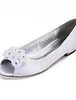 cheap -Women's Wedding Shoes Flat Heel Peep Toe Classic Sweet Wedding Party & Evening Satin Rhinestone Flower Solid Colored White Ivory