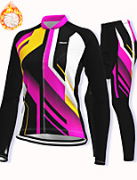 cheap -21Grams Women's Long Sleeve Cycling Jacket with Pants Winter Fleece Spandex Fuchsia Bike Fleece Lining Warm Sports Geometic Mountain Bike MTB Road Bike Cycling Clothing Apparel / Stretchy