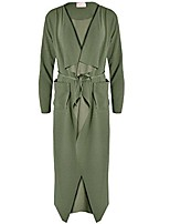 cheap -women's ladies maxi long sleeve waterfall belted duster coat/jacket (aqua green, s/m)
