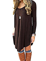 cheap -women long loose sleeve tunic solid dress solid brown w