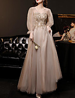 cheap -A-Line Elegant Floral Prom Formal Evening Dress V Neck Long Sleeve Floor Length Tulle with Pleats Sequin Appliques 2020