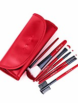 cheap -7 pcs makeup brushes set with portable cosmetic bag, for blending foundation powder blush concealers highlighter eye shadows brushes (red)