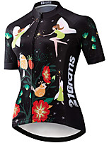cheap -21Grams Women's Short Sleeve Cycling Jersey Black Bike Jersey Mountain Bike MTB Road Bike Cycling Breathable Sports Clothing Apparel / Athletic