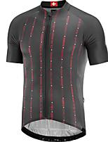cheap -21Grams Men's Short Sleeve Cycling Jersey Dark Gray Stripes Bike Jersey Mountain Bike MTB Road Bike Cycling Breathable Sports Clothing Apparel / Athletic
