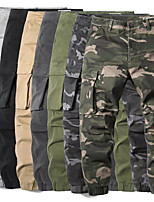 cheap -Men's Hiking Cargo Pants Solid Color Summer Outdoor Breathable Anti-tear Multi-Pocket Cotton Bottoms White Black Army Green Camouflage Dark Gray Hunting Fishing Climbing 29 30 31 32 33
