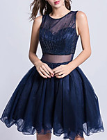 cheap -A-Line Glittering Beautiful Back Homecoming Cocktail Party Dress Illusion Neck Sleeveless Short / Mini Tulle with Pleats Lace Insert 2020