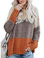 cheap -womens warm jumper colour block knitted sweater round neck knitwear long sleeve sweater oversized pullover jumper tops yellow x-large, 18-20