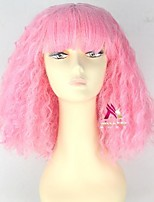 cheap -Synthetic Wig Nicki Minaj Curly With Bangs Wig Short Pink Synthetic Hair 16 inch Women's Cool Fluffy Pink
