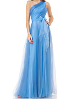 cheap -A-Line Minimalist Sexy Wedding Guest Formal Evening Dress One Shoulder Sleeveless Floor Length Tulle with Bow(s) Pleats 2020