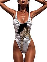 cheap -Women's New Sexy Monokini Swimsuit 3D Animal Print Bodysuit Normal Strap Swimwear Bathing Suits White / One Piece
