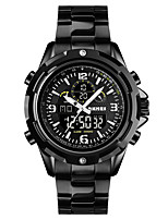 cheap -SKMEI Men's Steel Band Watches Quartz Sporty Outdoor Calendar / date / day Analog - Digital Black Silver Black / White / One Year / Stainless Steel
