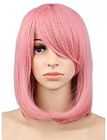 cheap -16 inch women girls short bob straight cosplay wig costume party pink synthetic hair wigs