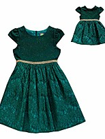 cheap -girls' big knit/lace matching doll dress, emerald, 7