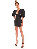 cheap -Sheath / Column Glittering Sexy Homecoming Cocktail Party Dress V Neck Long Sleeve Short / Mini Polyster with Bow(s) Crystals 2021