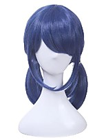 cheap -14 inch dark blue cosplay wigs double ponytails straight cosplay wig halloween heat resistant synthetic hair