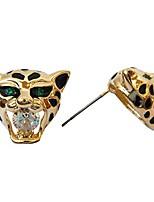 cheap -18k gold plated tiger head green eye crystal clear zirconia az1139s stud earrings