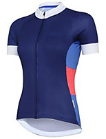 cheap -21Grams Women's Short Sleeve Cycling Jersey Blue Patchwork Bike Jersey Mountain Bike MTB Road Bike Cycling Breathable Sports Clothing Apparel / Athletic