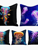 cheap -cushion cover 5pc linen soft decorative square throw pillow cover cushion case pillowcase for sofa bedroom 45 x 45 cm (18 x 18 inch) superior quality machine washable jellyfish