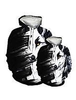 cheap -Family Look Active Dog Graphic Optical Illusion Animal Print Long Sleeve Regular Hoodie & Sweatshirt Black
