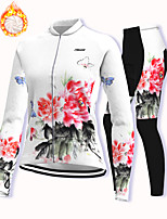 cheap -21Grams Women's Long Sleeve Cycling Jacket with Pants Winter Fleece Spandex White Floral Botanical Bike Fleece Lining Warm Sports Graphic Mountain Bike MTB Road Bike Cycling Clothing Apparel