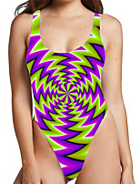 cheap -Women's New Sexy Monokini Swimsuit 3D Print Bodysuit Normal Strap Swimwear Bathing Suits Purple / One Piece