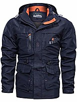 cheap -Men's Hoodie Jacket Hiking Softshell Jacket Hiking Windbreaker Outdoor Lightweight Windproof Breathable Quick Dry Jacket Top Fishing Climbing Camping / Hiking / Caving Military color khaki Navy Blue