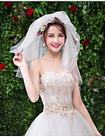 cheap -Two-tier Cute Wedding Veil Shoulder Veils with Solid Tulle