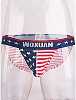 cheap -Men's 1 Piece Print Briefs Underwear - Normal Low Waist Red S M L