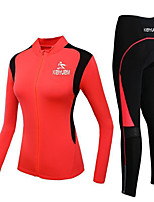 cheap -Women's Long Sleeve Cycling Jersey with Tights Cycling Jersey with Bib Shorts Red Green Bike Breathable Sports Road Bike Cycling Clothing Apparel / Stretchy