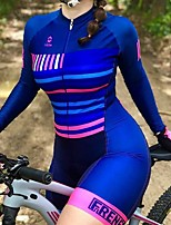 cheap -Men's Women's Long Sleeve Cycling Jersey with Shorts Triathlon Tri Suit Blue Bike Breathable Quick Dry Sports Mountain Bike MTB Road Bike Cycling Clothing Apparel / Stretchy / Athletic