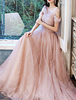 cheap -A-Line Glittering Elegant Engagement Formal Evening Dress Illusion Neck Sleeveless Floor Length Tulle with Pleats Beading 2020