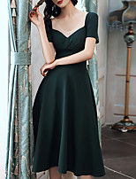 cheap -A-Line Minimalist Vintage Homecoming Cocktail Party Dress Scoop Neck Short Sleeve Knee Length Spandex with Pleats 2020