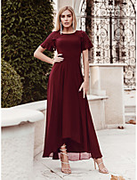 cheap -A-Line Flirty Empire Party Wear Wedding Guest Dress Jewel Neck Short Sleeve Asymmetrical Chiffon with Lace Insert 2020