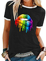 cheap -Women's T shirt Lips Rainbow Patchwork Print Round Neck Tops Basic Basic Top White Black Blue