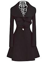 cheap -women's fall winter woolen falbala collar slim fit outwear dress coat black us l(asian xxl)
