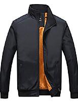 cheap -men's jacket loose casual plus velvet jacket long sleeve stand collar zipper cardigan (black,xxxxl)