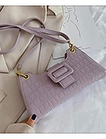 cheap -baguette bag, ladies solid color crocodile pattern pu leather clutch shoulder tote handbag with zipper closure for mobile phone lipstick purple
