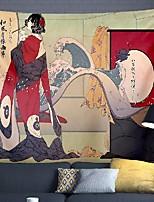 cheap -Japanese Painting Style Ukiyo-E Wall Tapestry Art Decor Blanket Curtain Hanging Home Bedroom Living Room Decoration Kimono Wowen Geisha Cat Crane