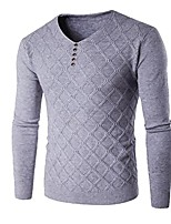 cheap -male sweater male casual slim long sleeve sweaters men pure plush hedging v-neck square grid men's sweater light gray m