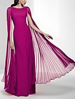 cheap -Sheath / Column Minimalist Elegant Wedding Guest Formal Evening Dress Jewel Neck Sleeveless Floor Length Chiffon with Pleats 2020