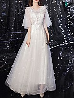 cheap -A-Line Sexy Floral Engagement Prom Dress Jewel Neck Half Sleeve Floor Length Tulle with Crystals Appliques 2020
