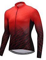 cheap -21Grams Men's Long Sleeve Cycling Jersey Red Gradient Bike Jersey Mountain Bike MTB Road Bike Cycling Breathable Sports Clothing Apparel / Athletic
